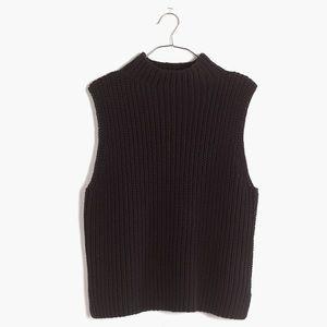 Madewell mock turtle sleeveless black sweater